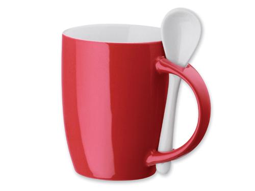 Raudonas puodelis su šaukšteliu