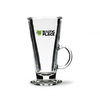 Airiškos kavos stiklo puodelis