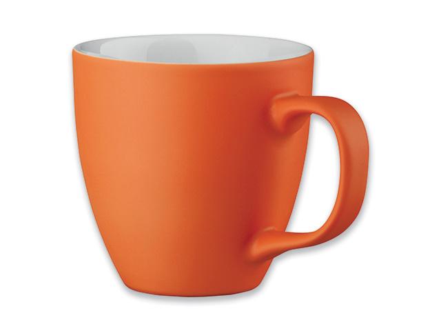 Oranžinis porceliano puodelis