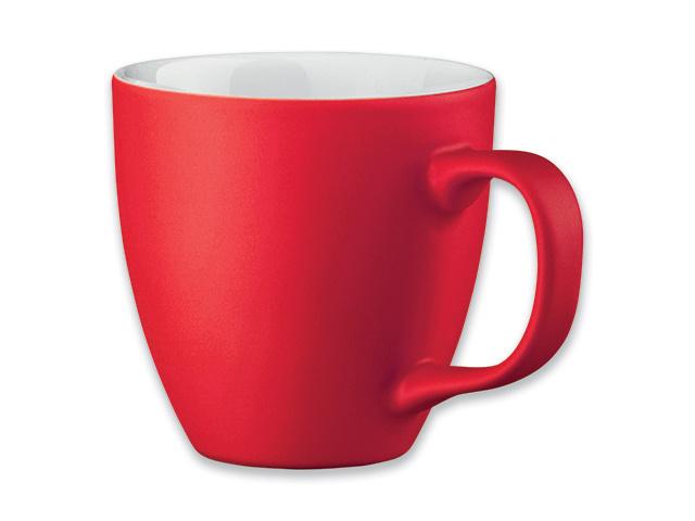 Raudonas porceliano puodelis